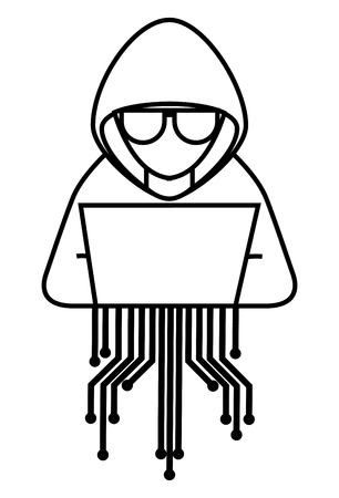 Illustrazione per Hacker with laptop character and circuit electric vector illustration design - Immagini Royalty Free