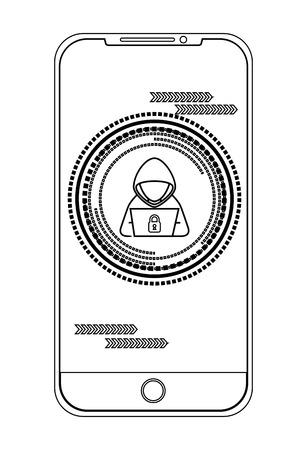 Illustrazione per Smartphone with hacker character vector illustration design - Immagini Royalty Free
