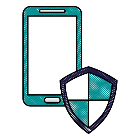 Illustration pour smartphone with shield protection data cyber security vector illustration drawing - image libre de droit