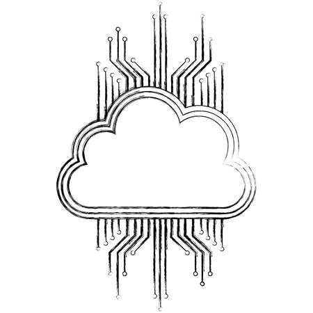 Illustration pour cloud storage cyber security circuit digital vector illustration - image libre de droit