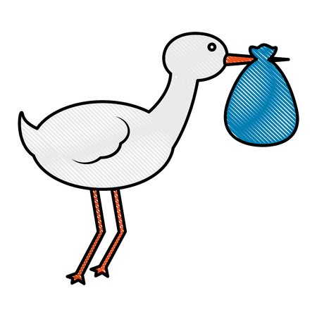 Illustration pour cute stork carrying baby in blanket vector illustration drawing - image libre de droit