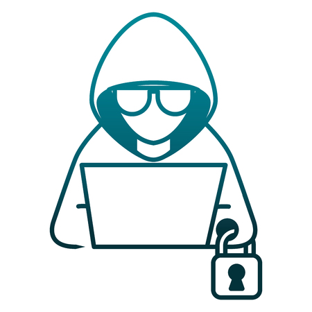 Illustrazione per hacker with laptop and padlock character vector illustration - Immagini Royalty Free