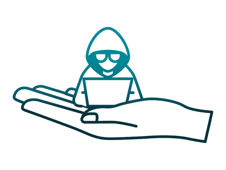 Illustrazione per hand lifting hacker with laptop character vector illustration - Immagini Royalty Free