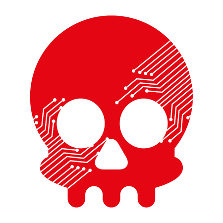 Illustrazione per skull with electric circuit vector illustration design - Immagini Royalty Free