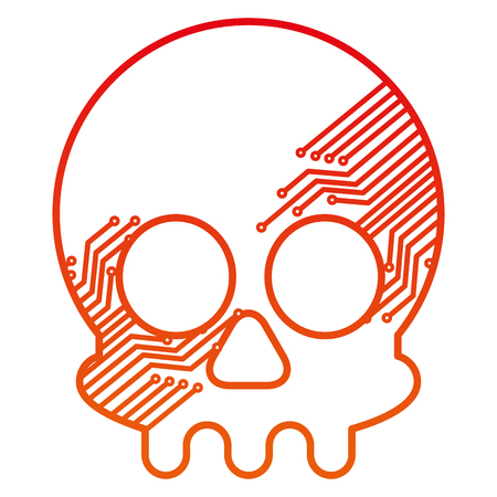 Illustration pour cyber security concept skull with circuits technology vector illustration degraded color - image libre de droit