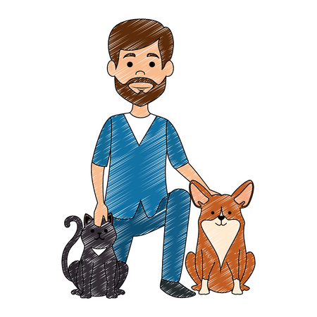 Illustration pour veterinary doctor with dogs avatar character vector illustration design - image libre de droit