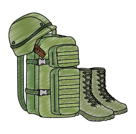 Ilustración de military bag with boots and helmet vector illustration design - Imagen libre de derechos