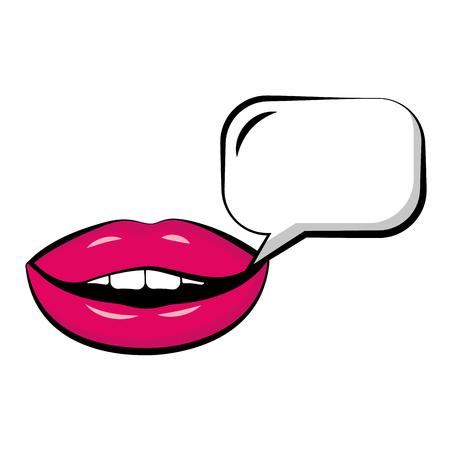 Illustration pour Female lips with speech bubble pop art style vector illustration design - image libre de droit