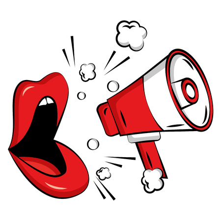 Ilustración de Female lips with megaphone pop art style vector illustration design - Imagen libre de derechos