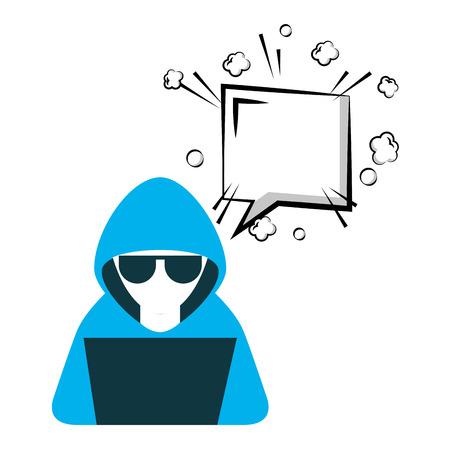 Illustrazione per hacker with laptop and speech bubble character vector illustration design - Immagini Royalty Free