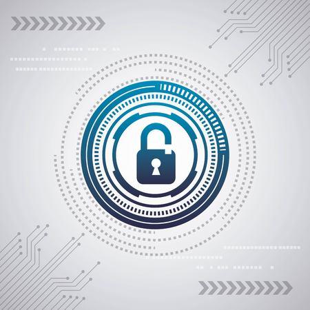 Ilustración de cyber security digital white background circuit internet padlocks protection speed blue vector illustration - Imagen libre de derechos