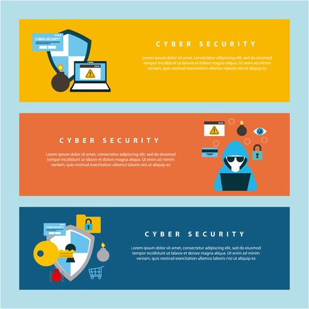 Illustration pour cyber security technology colorful banners hacker computer shield keyhole protection save vector illustration - image libre de droit