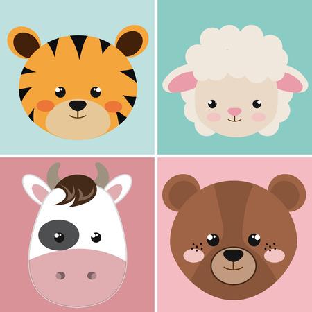 Ilustración de cute group head animals characters vector illustration design - Imagen libre de derechos