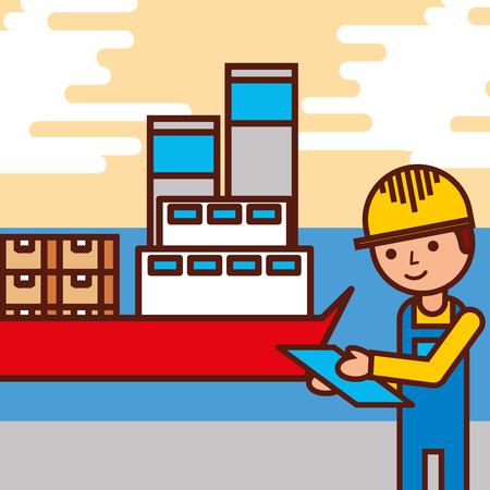 Illustration pour logistic employee cargo ship containers vector illustration - image libre de droit