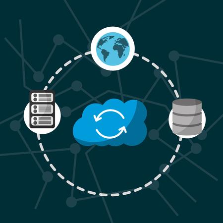 Ilustración de cloud computing storage refresh data server global connection vector illustration - Imagen libre de derechos