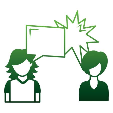 Illustration pour couple talking with speech bubbles vector illustration design - image libre de droit