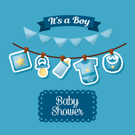 Ilustración de baby shower celebration its a boy happy born pennants babe clothes vector illustration - Imagen libre de derechos