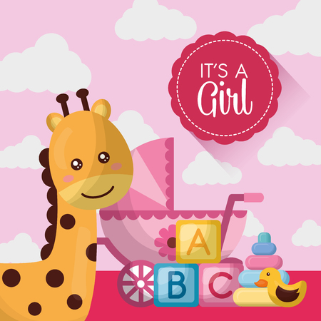 Ilustración de baby shower card happy giraffe cute pink babe carriege cubes toys vector illustration - Imagen libre de derechos