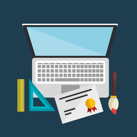 Ilustración de laptop computer with easy learning icons vector illustration design - Imagen libre de derechos