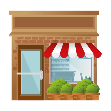 Illustration for store building front facade vector illustration design - Royalty Free Image