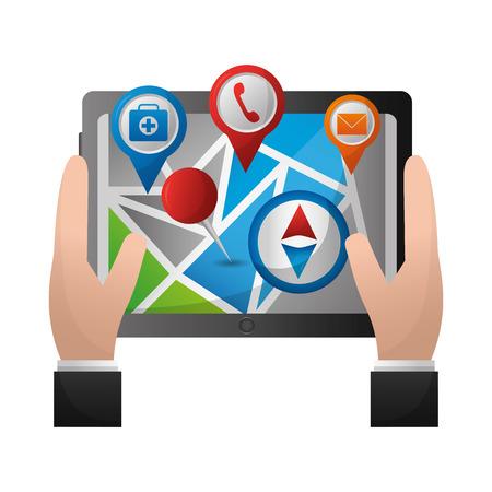 Ilustración de hands holds tablet with mobile gps navigation map with markers vector illustration - Imagen libre de derechos