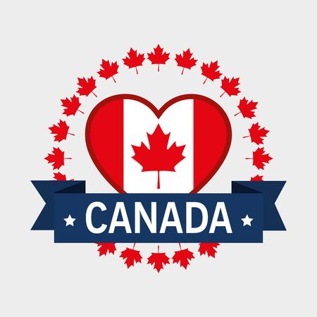 Ilustración de Canada flag in heart shape illustration design - Imagen libre de derechos