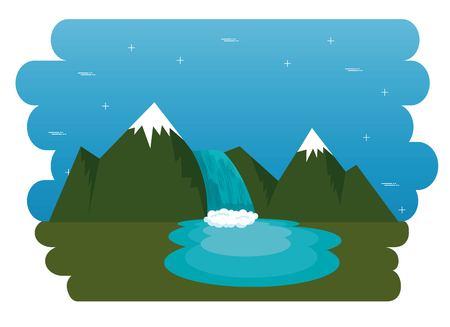 Illustration pour Mountains with snow canadian scene vector illustration design - image libre de droit