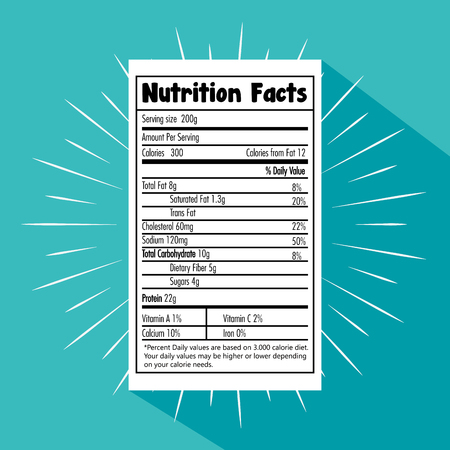 Illustration for Paper with nutrition facts vector illustration design - Royalty Free Image