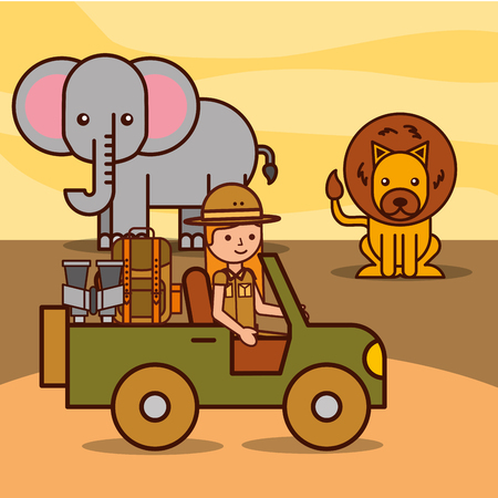 Illustration for safari girl explorer driving jeep watching lion and elephant african vector illustration - Royalty Free Image