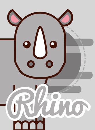 Illustration for rhino cartoon poster african animal vector illustration - Royalty Free Image