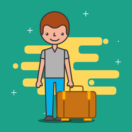 Illustration pour Cartoon man customer and bag hotel service vector illustration - image libre de droit