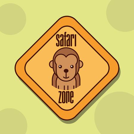 Illustration for safari monkey animal zone sign vector illustration - Royalty Free Image