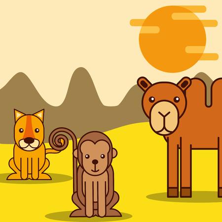 Illustration for camel tiger and monkey safari animals cartoon vector illustration - Royalty Free Image