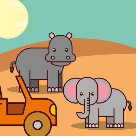Illustration for elephant and hippo jeep car safari animals cartoon vector illustration - Royalty Free Image