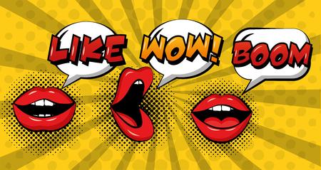 Illustration pour pop art comic woman lips speech bubbles set vector illustration - image libre de droit