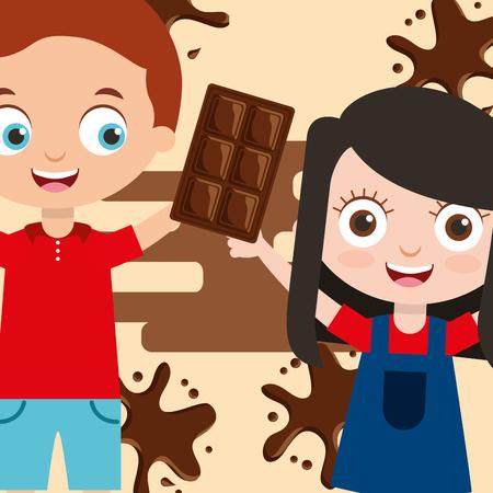 Ilustración de kids with sweet chocolate bar splash image vector illustration - Imagen libre de derechos