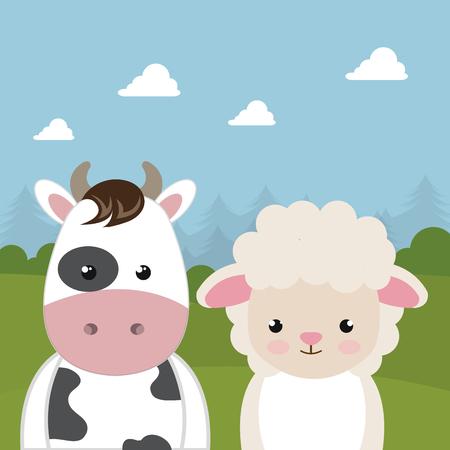 Ilustración de Cute sheep and cow in the field landscape characters vector illustration design - Imagen libre de derechos