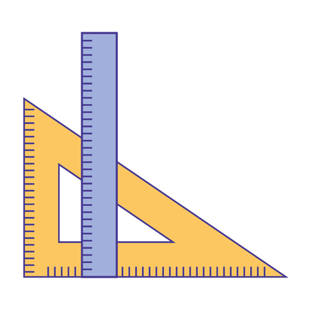 Illustration for ruler and setsquare geometry object vector illustration - Royalty Free Image