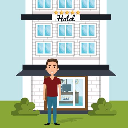 Illustration pour young man outside hotel character scene vector illustration design - image libre de droit