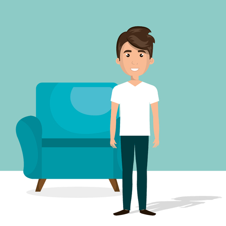 Illustration pour young man in the living room character scene vector illustration design - image libre de droit