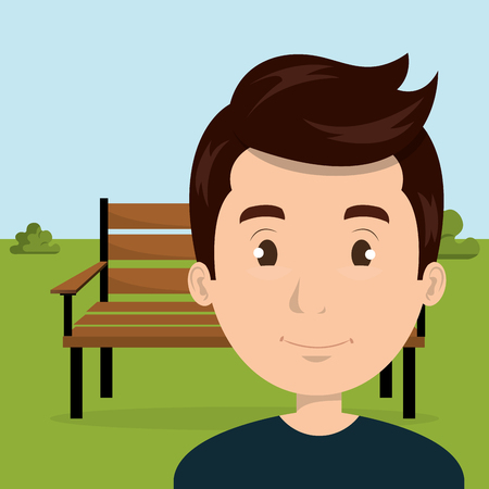 Illustration pour young man in the park character scene vector illustration design - image libre de droit