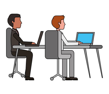 Ilustración de two man working in workplace desk and computer vector illustration - Imagen libre de derechos