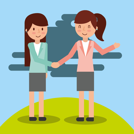 Ilustración de two businesswoman in suit elegant handshake vector illustration - Imagen libre de derechos