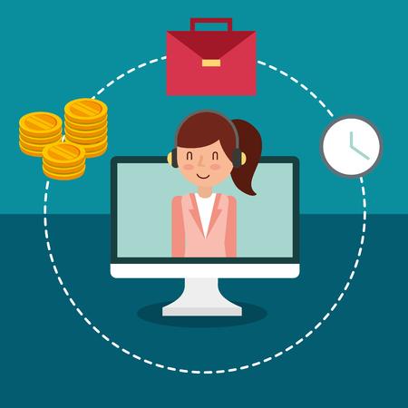 Ilustración de businesswoman on screen pc money suitcase and clock vector illustration - Imagen libre de derechos