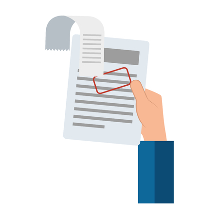 Ilustración de Hand drawn hand lifting finance document paper vector illustration design - Imagen libre de derechos