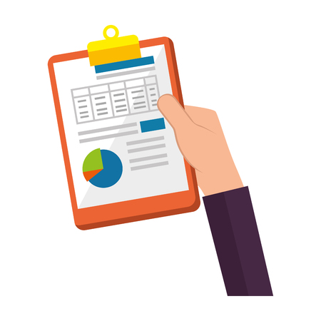 Illustration for hand lifting clipboard finance document vector illustration design - Royalty Free Image