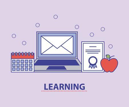Illustration pour Laptop email diploma calendar online learning education vector illustration - image libre de droit