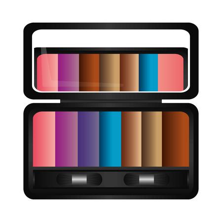 Ilustración de Palette eyeshadows with mirror femenine make up vector illustration design - Imagen libre de derechos