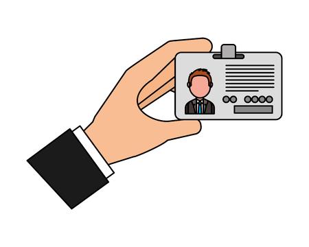Illustration pour hand holding id card corporate vector illustration - image libre de droit