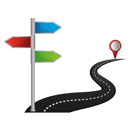 Illustration pour gps navigation route departure arrival destination vector illustration  - image libre de droit